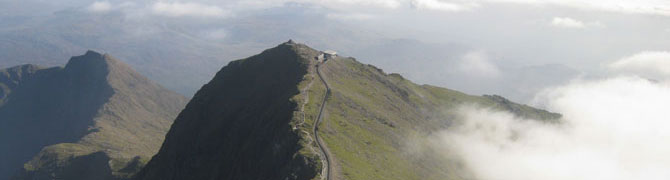 Aerial view of Snowdon Mountain Railway and the Llanberis Path